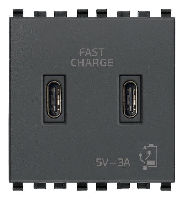 Зарядний пристрій USB тип С+C, 2 модулі 5В, 3А колір сірий EIKON 20295.CC