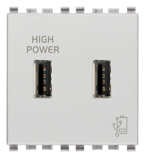 Зарядний пристрій USB тип А+A, 2 модулі 5В, 2,1А колір срібний EIKON 20295.N