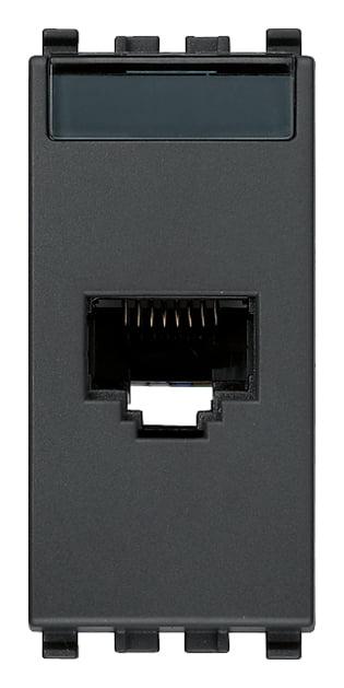 Розетка інформаційна один вихід RJ45 UTP (8 контактів), 5е категорія, 1 модуль, колір сірий EIKON 20339.11