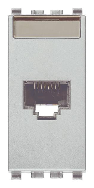 Розетка інформаційна один вихід RJ45 UTP (8 контактів), 5е категорія, 1 модуль, колір срібний EIKON 20339.11.N