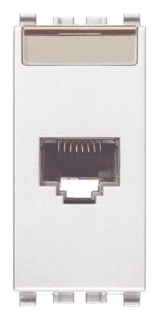 Розетка інформаційна один вихід RJ45 UTP (8 контактів), 6 категорія, 1 модуль, колір білий EIKON 20339.13.B
