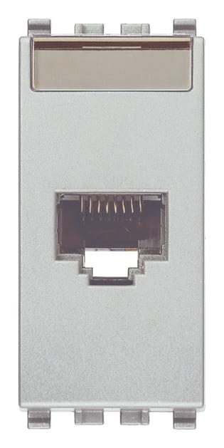 Розетка інформаційна один вихід RJ45 UTP (8 контактів), 6 категорія, 1 модуль, колір срібний EIKON 20339.13.N