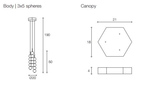Підвісний світильник Terzani Abacus Suspension Body | 3x5 spheres| Canopy white| DALI system