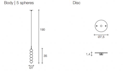 Підвісний світильник Terzani Abacus Pendant Body | 5 spheres| Disc