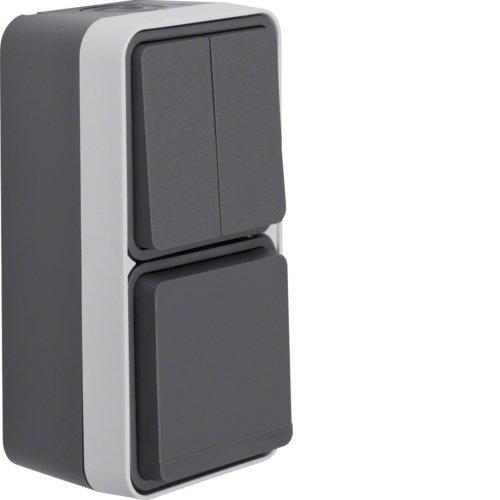 Комбінація двоклавішний вимикач / Розетка SCHUKO IP 55 для накладного монтажу W. 1 Антрацит